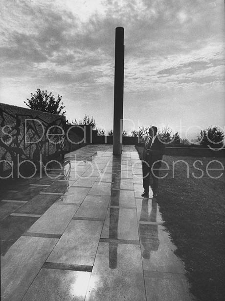 Nazi Pursuer Simon Wiesenthal, outside of Yugoslav Memorial Monument.
