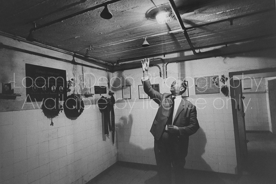 Nazi Pursuer Simon Wiesenthal, inside concentration camp where victims were crowded to take showers, which were not water but lethal gas.