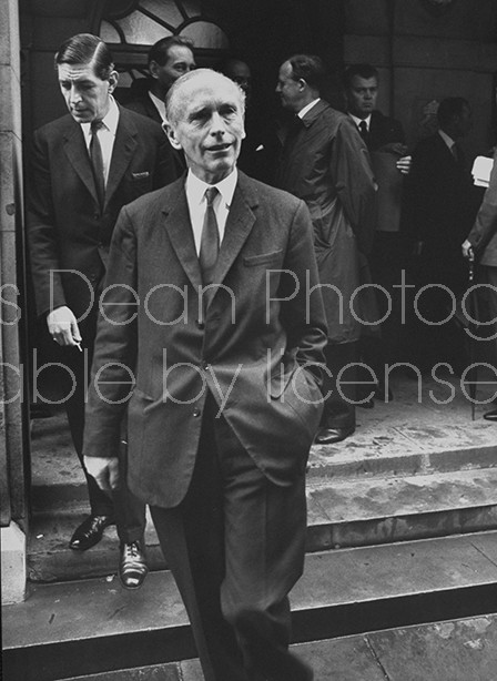 British Tories Alec Douglas-Home, Sir (C) and Edward DuCann  leaving  Church House after the election of Edward Heath as the leader of Conservative Party.