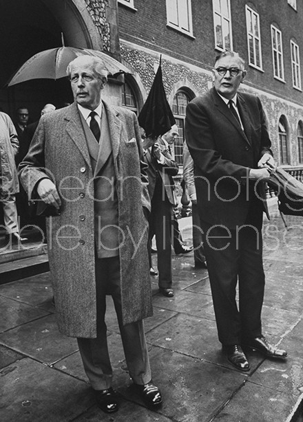 British Tories Harold MacMillan (L) and Quintin Hogg (R) leaving  Church House after the election of Edward Heath as the leader of Conservative Party.