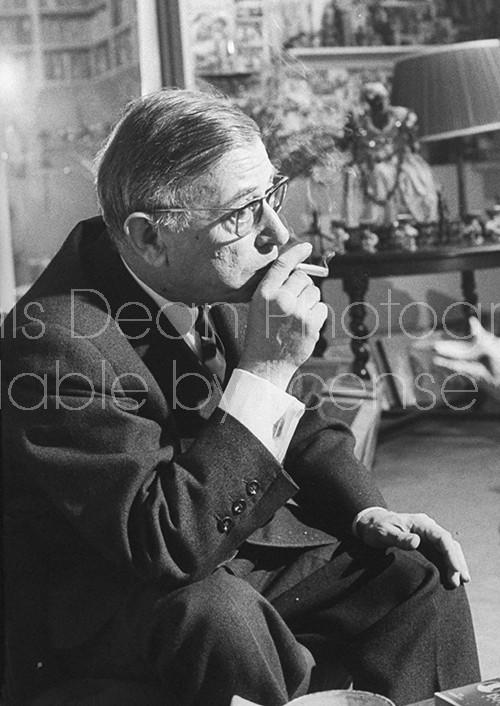 Writer Jean Paul Sartre at Simon De Beauvoir's Paris apartment.