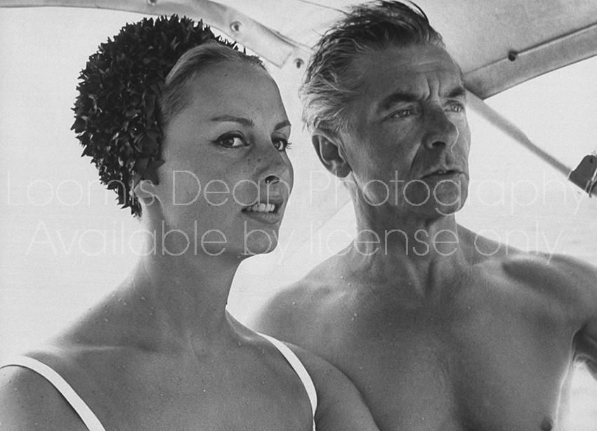 Conductor, Herbert Von Karajan & wife Eliette, vacationing in St. Tropez.