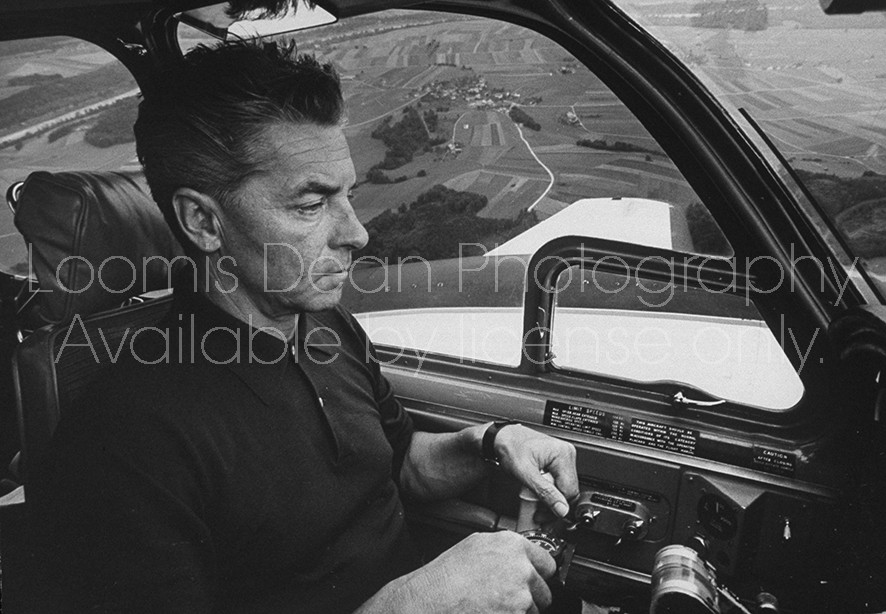 Conductor, Herbert Von Karajan, while flying his plane.