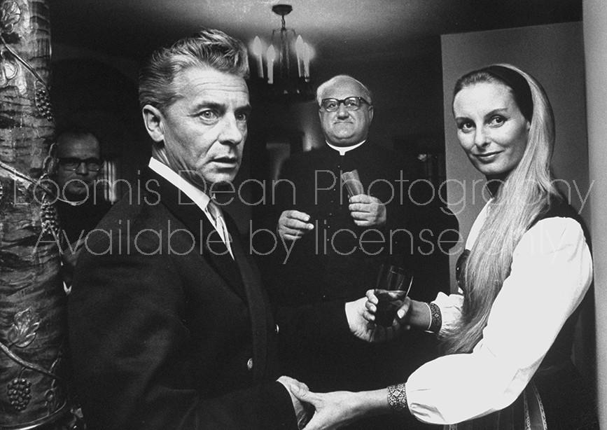 Conductor, Herbert Von Karajan & wife Eliette, rewed five years after civil ceremony.