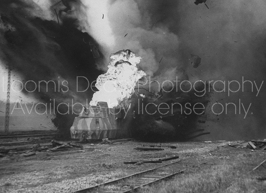 "On location of film ""The Train""; scene showing the explosion."