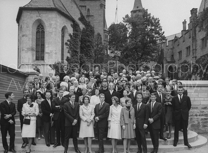 German Honenzollern Prince Louis Ferdinand (2nd row C), during during his 25th wedding anniv. celebration.
