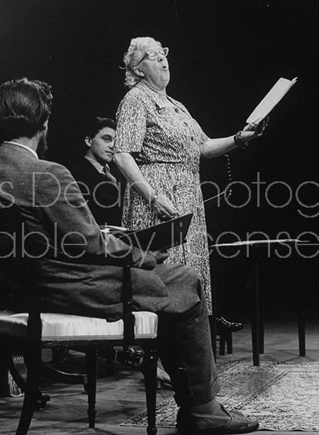 Actress Margaret Rutherford reading poetry at Chicester's Festival Theatre.