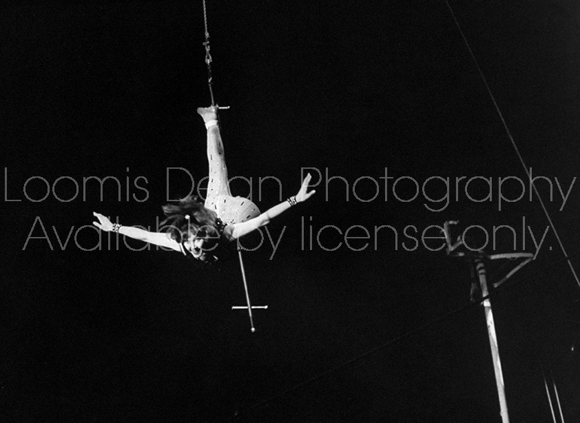 Trapeze artist Pascale Roberts participating in an actors' benefit performance at the Cirque d'Hiver.