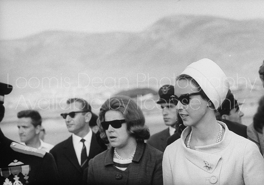 Princess Maria Gabriella of Italy (R) arriving in Athens for wedding of Juan Carlos of Spain to Princess Sophia of Greece.