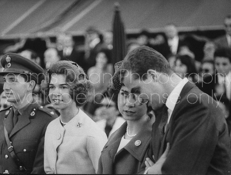 Crown Prince Constantine II (L), Princess Irene (2R), Princess Sophie (2R), and Juan Carlos at Athens race track.