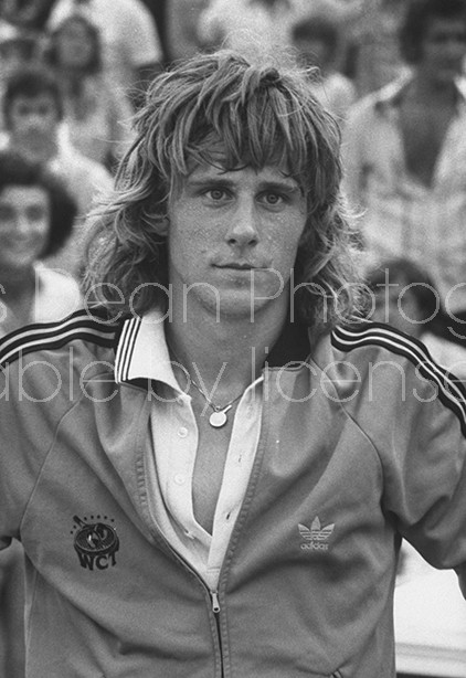 Tennis player Bjorn Borg fiercely sweating after a game of tennis.