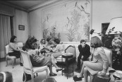 French debutantes Catherine Girardeau (Rear), w. guitar, Corrinne De Bouard (L) and Diane L'Espee (2L) attending tea party.