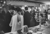French debutante Brigitte Villet (L) wearing gown by Jacques Esterel.