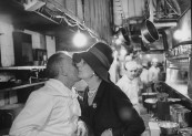 Countess Guy De Toulouse-Lautrec (C), congratulating chef at Maxim's in Paris.
