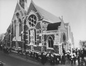 The Harrow school chapel during memorial service for Sir. Winston Churchill.