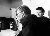 Writer Simon De Beauvoir, chatting with close friend and Playwrite Jean Paul Sartre, at her Paris apartment.