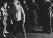 """Conductor, Herbert Von Karajan (2L), while directing during rehearsal for up comming opera """"Elektra."""""""