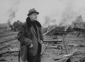"United Artist speacial effects man Lee Zavitz, on location for explosion scene in film ""The Train""."