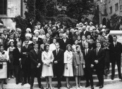 German Honenzollern Prince Louis Ferdinand (2nd row C), during his 25th wedding anniv. celebration.