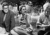 Novelist and author Mary McCarthy (C) hosting a picnic attended by poet Stephen Spender (R) and Jack Downie.
