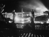 Torchlight parade in St. Peters Square on opening day of Ecumenical Counci in Romel.