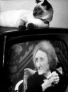 Poetess Edith Sitwell, on TV during her poetry reading on her 75th birthday.