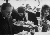 Artist Ernst Fuchs and his family, with German art collector Sigfrid Poppe, at a restaurant during the Biennale Art Exposition.