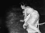 Daughter of conservative party chairman Iain Macleod,Diana Macleod falling on David Davies by a sudden collapsing of the chair.
