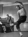 (L-R) Composer/conductor Leonard Bernstein, theater designer Oliver Smith and dancer/choreographer Jerome Robbins in a graceful, balletic pose.