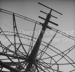 US naval vessal's radar tower sitting unused in a storage depot.