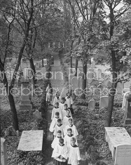 A view of a cemetery at a Lutheran Episcopal Church.