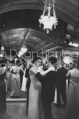 Debutante Chantal Clappier (C) attending Paris Ball and dancing with Jacques Lemarstre.