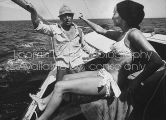 Conductor, Herbert Von Karajan & wife Eliette, vacationing in St. Tropez.