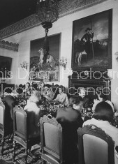 Luncheon in formal dining room of the Spanish Duchess of Alba's (4L) seville home.