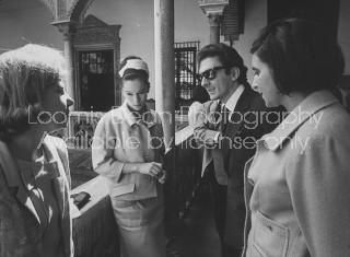 (L to R) Spainish Duchess of Alba, talking with Geraldine Chaplin, daughter of Charlie Chaplin, Marquis de Larrain, and Lola Vazquez, guests in Duchess seville palace.