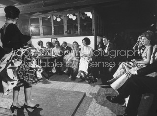 Flamenco dancer entertaining Spanish Duchess of Alba and her guests at exclusive party.