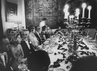Spanish Duchess of Alba, attending dinner party at Pilatos palace, one of Seville's most beautiful.