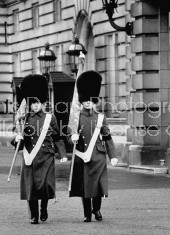 British Palace guards removing flags after John F. Kennedy's assassination.
