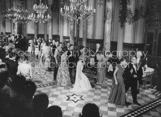 German Honenzollern Prince Louis Ferdinand & wife (R bowing), during their 25th wedding anniv. celebration.