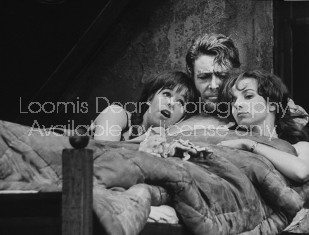 """Actor Peter O'Toole (C) performing in scene from the play """"Baal"""" with actresses Kate Binchy (L) and Annette Robertson."""