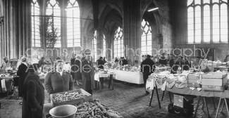 Public French market in Gothic Saint Pierre Church.