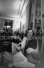 Nightclub owner Regine dining inside one of her clubs.