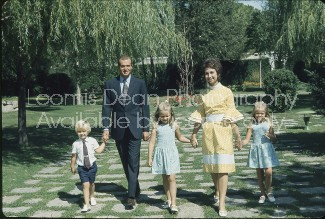 Spanish Prince Juan Carlos, Princess Sophia and children Elena and Christina and Felipe at Zarzuela palace near Madrid.